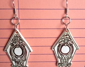 Folk Bird House Earrings
