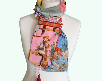 Retro boho scarf, patchwork, Cow girl,  handmade in France