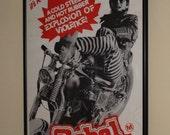 Original Vintage 1970 Rebel Rousers Australian Daybill Poster Framed Chopper