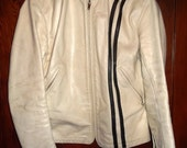 Vintage 1960's 60's Bates White Leather Motorcycle Chopper Jacket 36M Womens