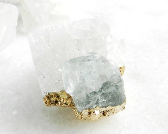crystal quartz ring, statement ring, aquamarine ring, gold ring, druzy ring, crystal ring, beryl ring, gold ring, march birthstone