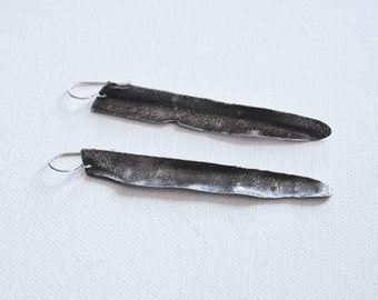 Feather earrings - long sterling silver earrings - tribal earrings - boho style