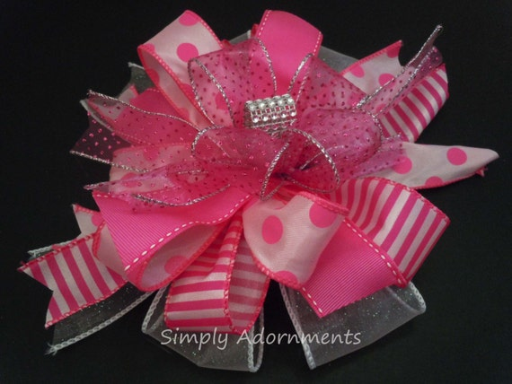 Funky Pink Wreath Bow Whimsical Pink gift Bow Pink Stripes Dots Birthday Party Decor Pink Baby Shower Decor Bridal Shower Bow Pink Gift Bow