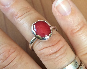 Rhodonite  Small/Pinky Ring in Sterling Silver All Handmade Size 4 3/4