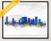 Nashville Poster Cityscape FRAMED Skyline Watercolor - Art Print Poster Framed - Rustic Decor - Wall Hanging - Ready to Hang