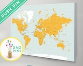 World Map CANVAS with Pins Choose Color - Countries, Capitals, USA and CANADA states  - Push Pin Travel Map, Pin It Map, 240 Pins