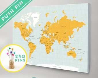 Personalized push pin world map canvas purple marble world map canvas with pins orange and blue colors countries capitals usa and gumiabroncs Image collections