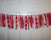 SALE Valentine's Day Be Mine Pink and Red Fabric Rag Tie Garland Banner - Party Decoration, Baby Shower, Nursery, Photo Prop Backdrop