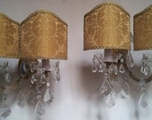 Pair of Vintage French Maria Theresa Crystal 2 Arm Wall Sconces with Gold Silk Damask Rubelli Fabric Clip On Lamp Shades - Made in Italy