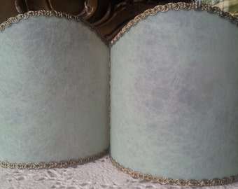Pair of Wall Sconce Clip-On Shield Shades Green Veined Parchment Mini Lampshade - Handmade in Italy