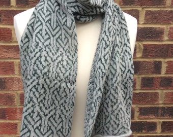 Knitted Shawl- Grey Cashmere  Wrap - Optical Pattern -Forest Green and Grey Shawl - Handmade Cashmere Scarf - Fair Isle Cashmere Scarf