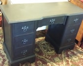 Vintage 7 Drawer Desk painted with L'essentiel Botanics Liquid Carbon sealed with Beeswax - Contact for Shipping