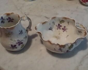 Antique Haviland & Co Limoges France Creamer Pitcher and Open Sugar Violets Decor