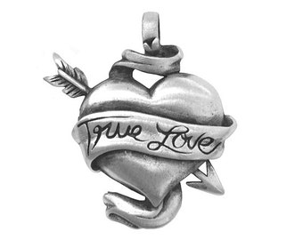 Bad Girl True Love 1.25 inch ( 32 mm ) Pewter Metal Pendant Antique Silver Color