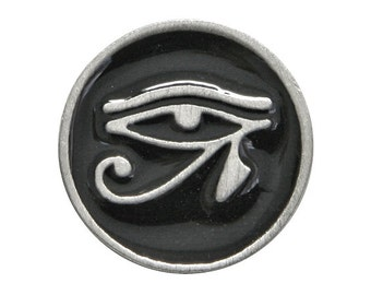 2 Eye of Horus 11/16 inch ( 18 mm ) Pewter Metal Button Black Background