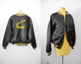 Vintage 80s Black Yellow Kitsch Bomber Jacket Coat Satin Street Style Keith Looney Auction