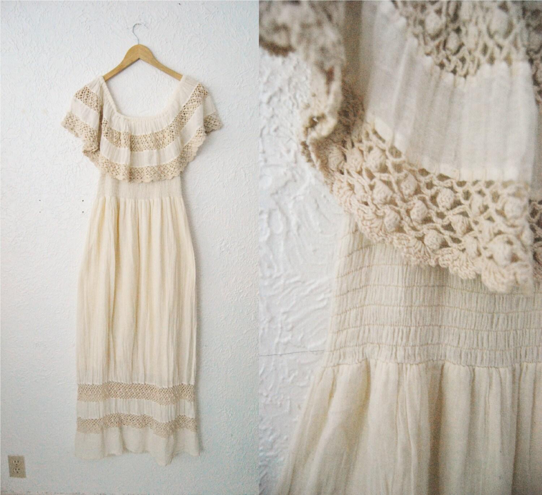 Vintage 60s Cream Cotton Gauze Dress Crocheted Mexican Wedding