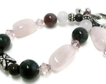 Price reduced Sale Rose Quartz Bracelet unique handmade jewelry pink bracelets green bracelets Swarovski pink crystal statement jewelry