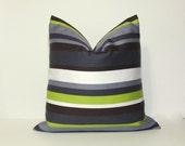 Charcoal grey lime green pillow cover.  Robert Allen Home modern stripe home decor accent pillows