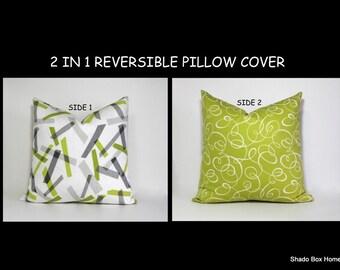 REVERSIBLE PILLOW COVER ~ greys & greens, Jonathan Adler linen, 2 in 1 Decorative throw pillow cover.