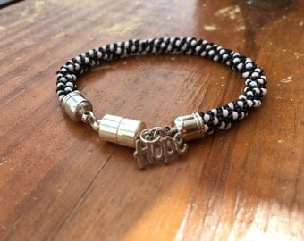 Hope Black and White Beaded Bracelet