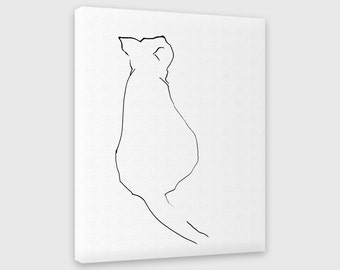 Cat Canvas Print, Cat Lover Gift, Black and White Ink Drawing, Cute Animal Art, Minimalist Wall Art, Giclee Print