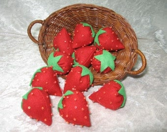 Strawberry fabric ornaments, fabric fruit, home decor, fruit ornament, craft supply