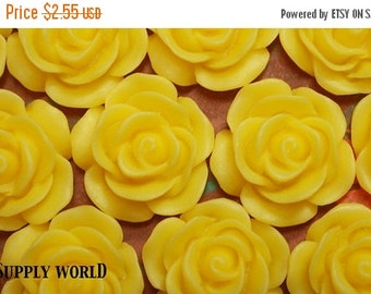 ON SALE Resin Cabochon - 5pcs - Flower Cabochon - Yellow - 18mm Cabochon - SW112-3