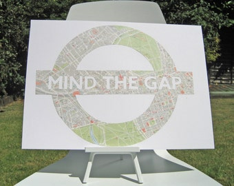 Lg. MIND THE GAP - Vintage Map London of Underground sign // Paper Cut in England from a vintage map of London // A3 Size
