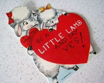 "60% OFF Mid Century ""Little Lamb"" Children's Classroom Valentines Day Card"