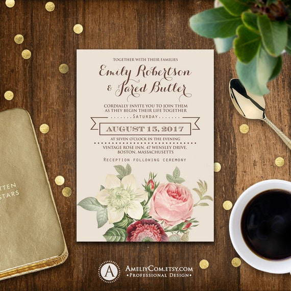 Printable Wedding Invitation Romantic Flowers Vintage Shabby Chic