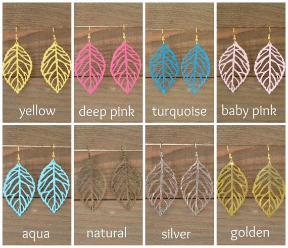 Leaf Earrings - Filigree Earrings - Large Dangle Earrings - Lightweight Earrings - Pink Blue Turquoise Yellow Gold Silver