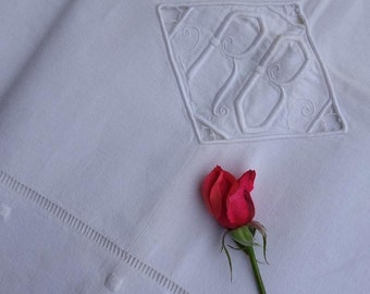 Stunning Pure  Linen Sheet, French Antique, King Size Monogrammed R.B Unused - Circa 1910's