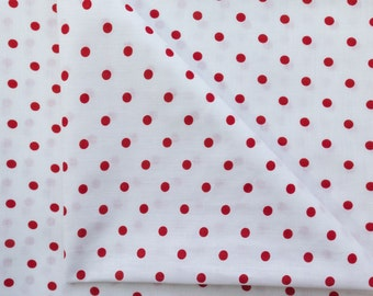 100% Cotton Print Polka Dot Small Dots  45 inch Red on White Fabric by the Yard, 1 Yard