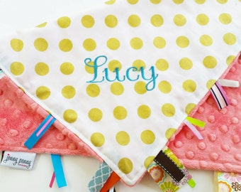 Tag Blanket with Minky and Name // Coral Minky Baby Blanket // Gold Dot Baby Blanket // Metallic Baby Blanket // Pearlized Dot Blanket