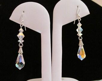 Swarovski Crystal Teardrop Earrings Double Drop Clear AB  Crystal Silver