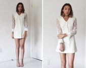 RESERVED 60's White Ruffle Lace Collared Button Up Mini Dress