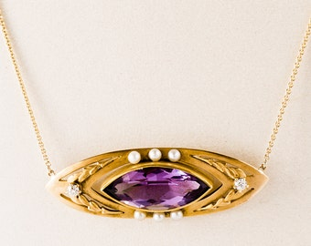 Antique Necklace - Antique Victorian 14k Yellow Gold Amethyst, Seed Pearl & Diamond Necklace