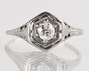 Antique Engagement Ring - Antique Edwardian 14k White Gold Diamond Engagement Ring