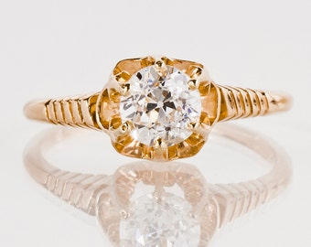Antique Engagement Ring - Antique 14k Rose Gold Diamond Engagement Ring