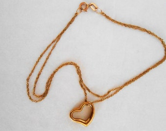 Vintage Fine Delicate 10K Solid Gold double chained Heart Bracelet Size 7 1/4 inches