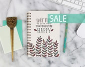 """SALE! 2016 Weekly Planner """"Take Time to Be Happy"""" with monthly spreads, back pocket, stickers, adhesive tabs and more"""