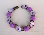 Cabochon Bracelet, Flowers, Crysanthumum, Kitty, Purple Bracelet
