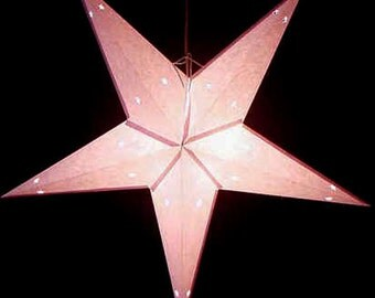 Set of 5 Small White Paper Star Lamps with Electrical Cords, For Decorating However You Like