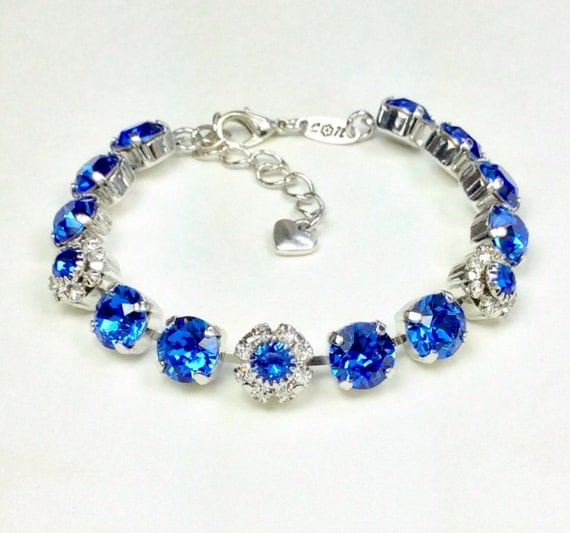 Swarovski Crystal 8.5mm Bracelet With Flowers -  Sapphire Flowers for Your Wrist! - Beautiful Gift ! -September Birthstone - FREE SHIPPING