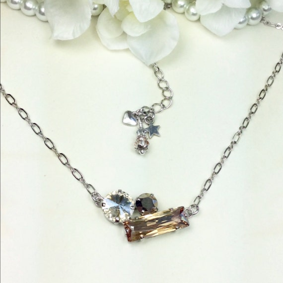 Swarovski Crystal  24 x8MM Baguette, 12MM, 8.5mm Necklace  - Golden Shadow, Moonlight, and Silver - Sparkle & Shimmer - FREE SHIPPING
