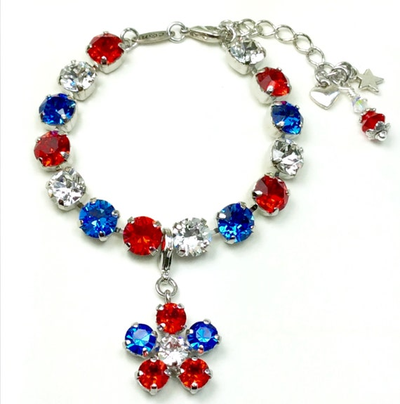 "Swarovski Crystal 8.5mm Bracelet - ""Glory Days"" with Flower Add- On Charm - Stunning and Classy - Designer Inspired - FREE SHIPPING"