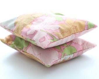 Retro Linen Handmade Fragrant Dried Lavender Sachets, Set of 2, Drawer Linen Freshener, Gifts for Her