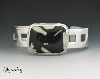 Silver Cuff, Chinese Writing Stone Cuff, Statement Cuff, Bracelet, Sterling Silver, Modern, Metalsmith Jewelry, Handmade