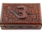 Carved wooden box with raised om and flower/vine pattern - 5 x 8 inches - ohm, aum, tarot card box, jewelry box